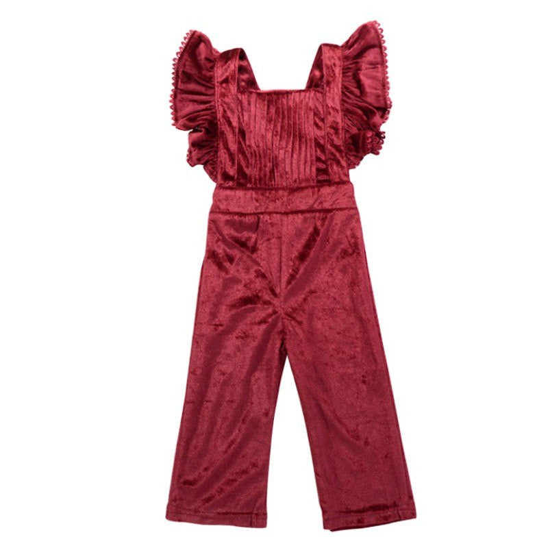 European Style Newborn Kids Toddler Baby Girl Velvet Clothes Sleeveless Pleat Romper Solid Jumpsuit Playsuit Sunsuit