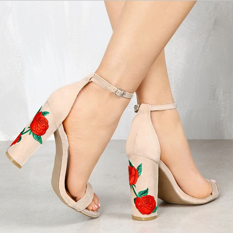 Women's Suede Embroidered Thick High Heel Sandals