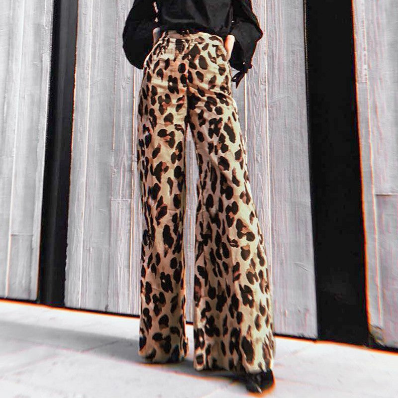 Leopard Print High Waisted Pin Up Trouser