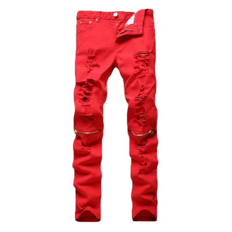 Men's Slim Fit Distressed Biker Pants with Knee Zippers
