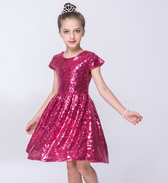 Girl's Sequin Short Sleeve Party Dress