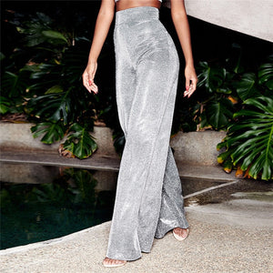 Silver Glitter High Waist Wide Leg Pants