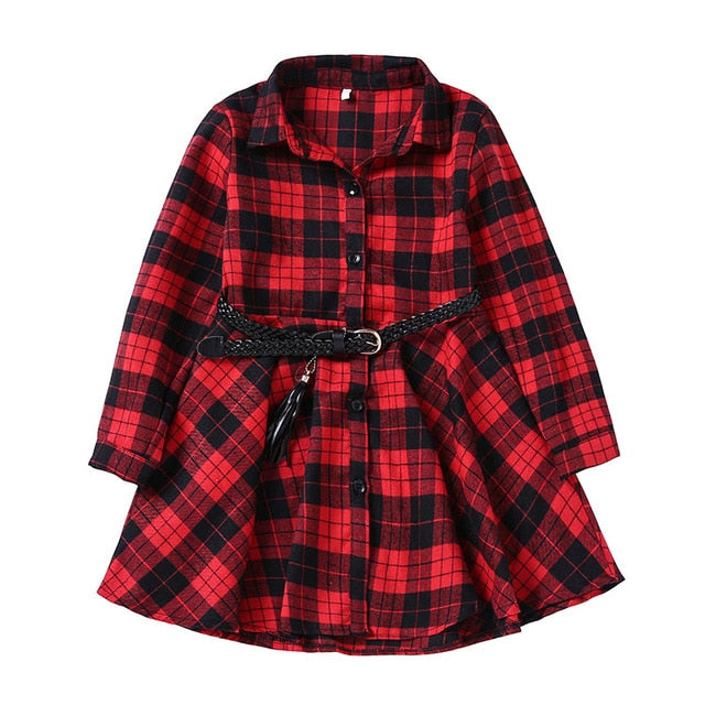 Girl'sl Long Sleeve Plaid Shirt Dress With Belt