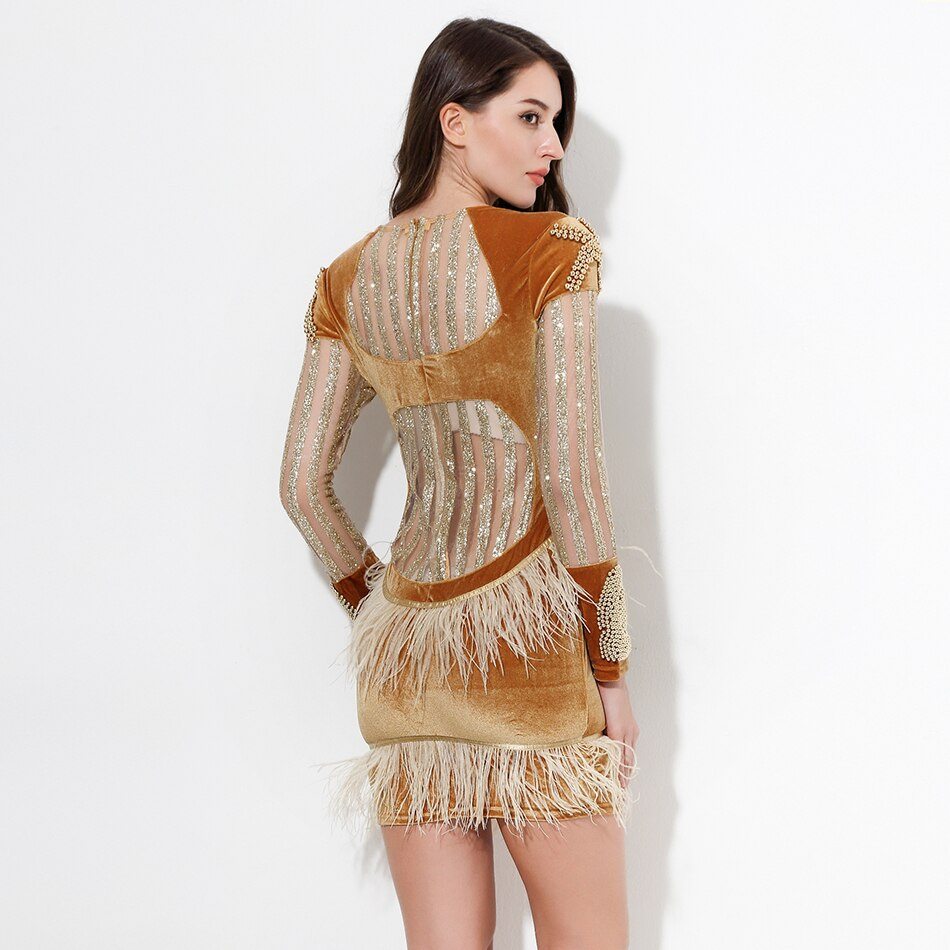 Beautiful Gold Beaded Party Dress with Feather Accents