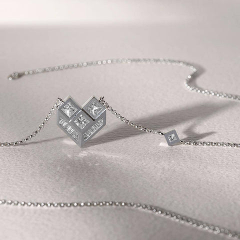 GEOMETRIC HEART DIAMOND NECKLACE - Shamsa Alabbar