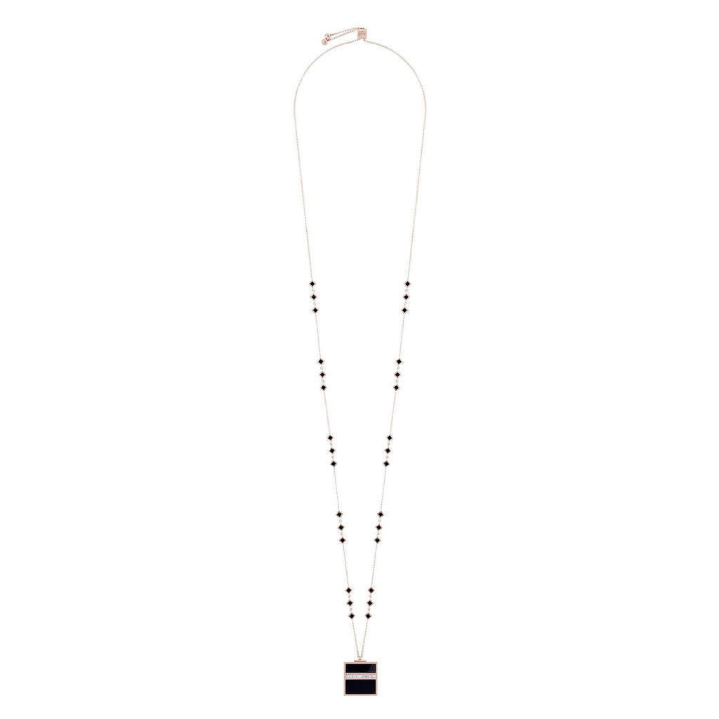 KAABA 2.0 PENDANT ROSE GOLD, ONYX WITH BAGUETTE DIAMONDS - Shamsa Alabbar