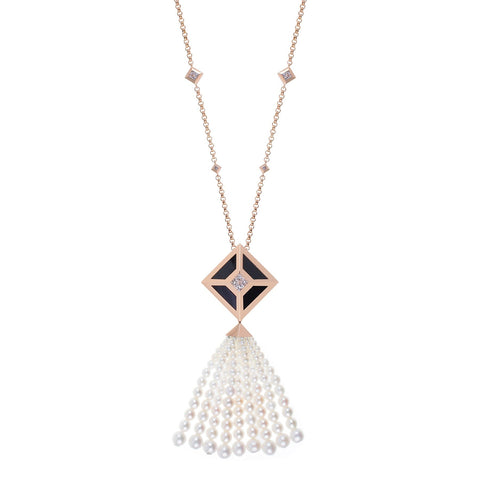TOKEN 2.0 TASSEL NECKLACE ROSE GOLD WITH ONYX - Shamsa Alabbar