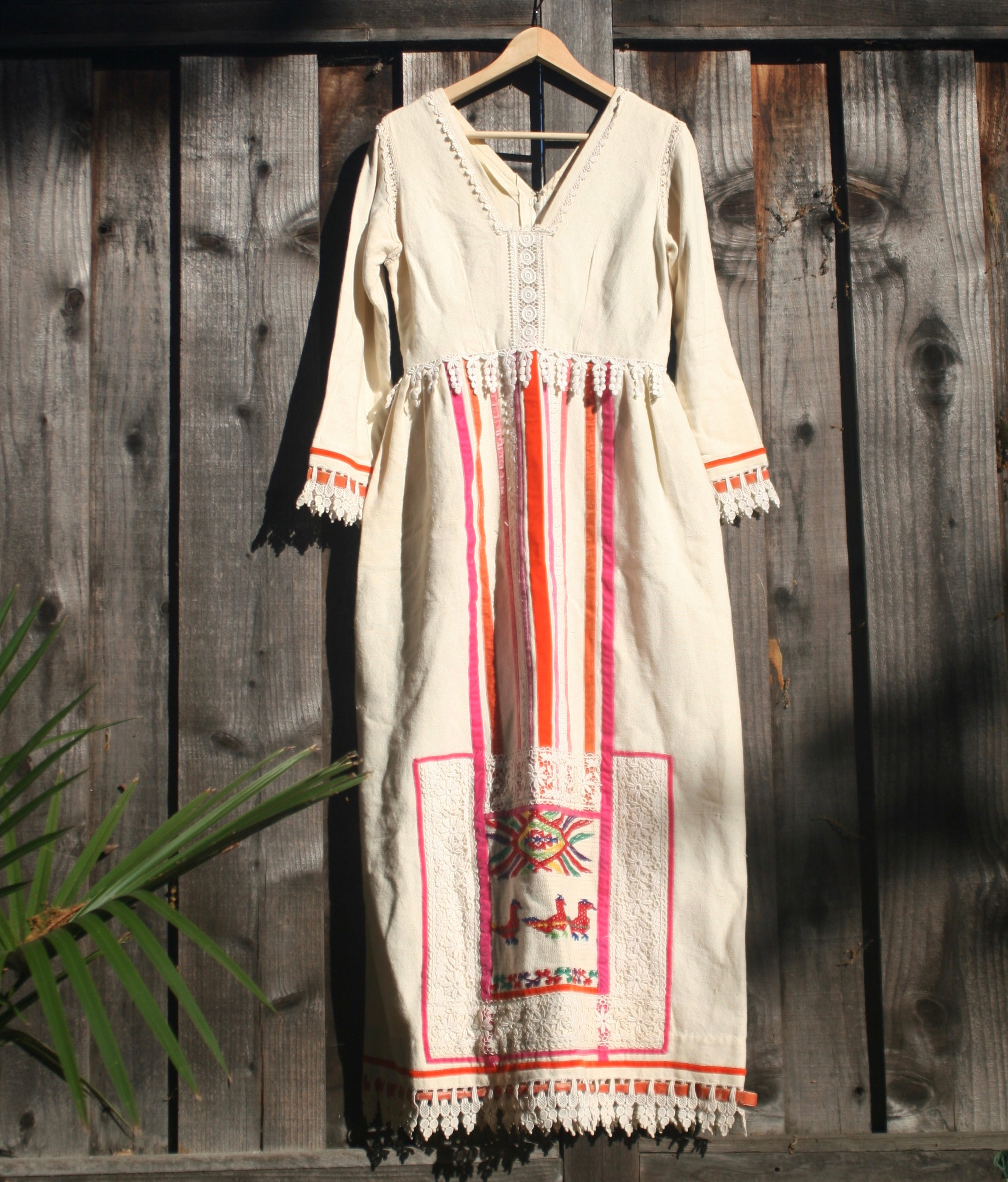 70s Embroidered Party Dress