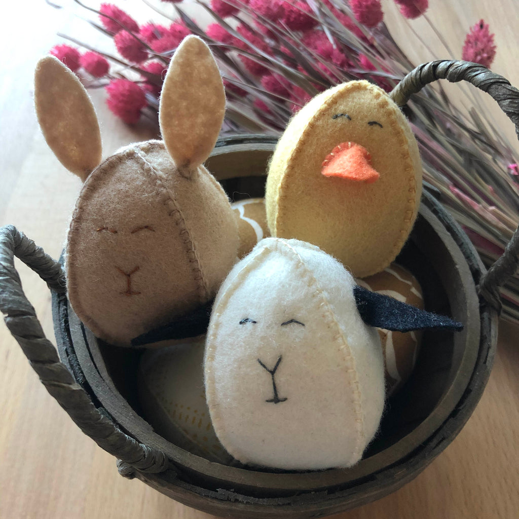 DIY easter egg bunny, lamb and chick