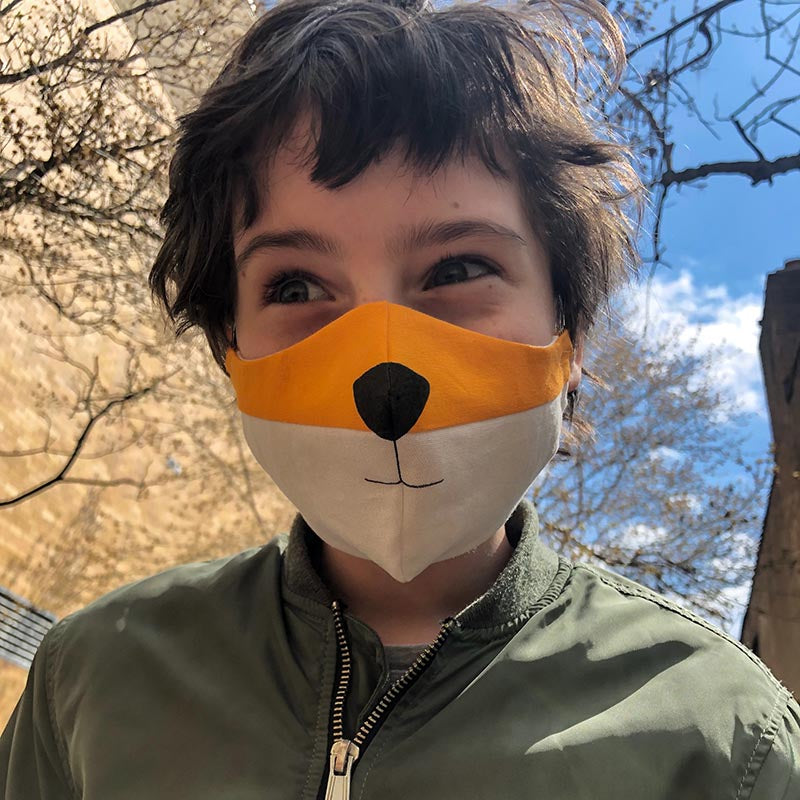 washable fabric face mask, fox