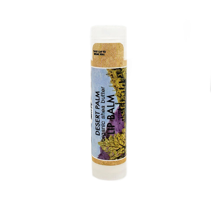 organic lip balm in desert palm. cruetly free.