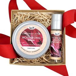 Perfect pair gift set contains organic christmas cactus moisturizing balm and jojoba perfume oil