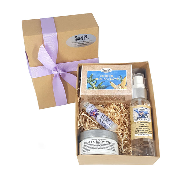 mini spa skincare gift set with desert lavender dry oil spray and lip balm. Creosote healing soap. Fragrance free hand and body creme