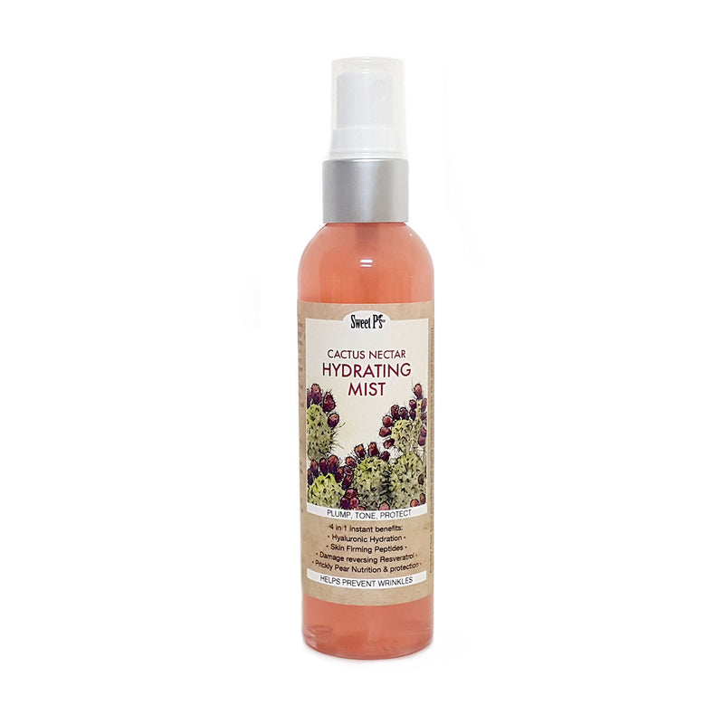 Prickly Pear cactus nectar hydrating mist helps with anti-aging. It has hyaluronic hydration, skin firming peptides and resveratrol. Spray this light miss on a fresh, clean face. Made with organics and cruelty free.