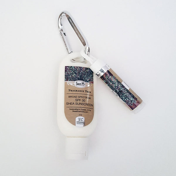 Shea Sunscreen-Lip Balm Carabiner - Fragrance Free
