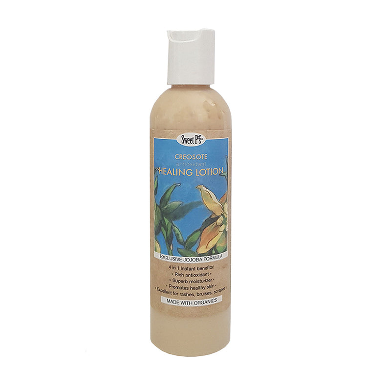 creosote moisturizing healing lotion. antioxidant rich, organic skincare. no animal testing. cruelty free.