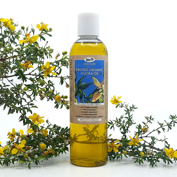 Creosote is an ancient medicinal herb that is a healing antioxidant. When infused with jojoba oil it makes an awesome skin moisturizing treatment. rich in antioxidants. cruelty free. no parabens or phthalates