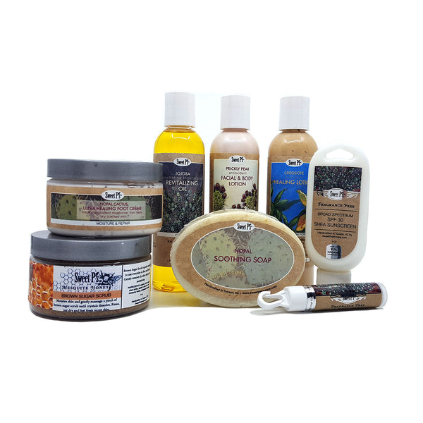 Awesome gift set with desert botanicals. It includes  certified organic jojoba oil, prickly pear face and body lotion,, ultra healing foot creme, a sugar scrub for the shower plus organic nopal soap. Sunscreen and lip balm carabiner also included. Made with organics and cruelty free.
