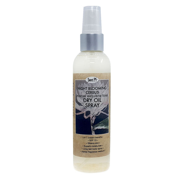 Skin softening dry oil spray with SPF15. Made with organic jojoba oil and fragranced with essential oill