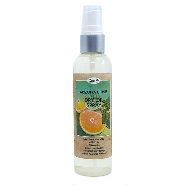 Certified organic jojoba oil spray. Goes on light and leaves skin feeling silky smooth. Arizona citrus scent. Made with organics and cruelty free!