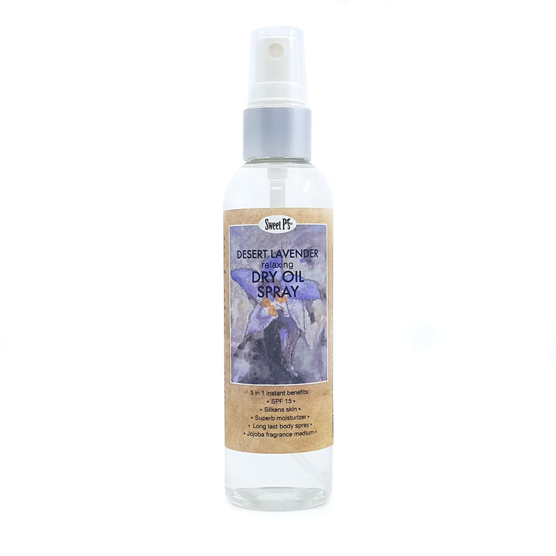 Desert lavender dry oil spray is made with certified organic jojoba oil. Spray on for instant silky smooth skin and relax with the calming lavender scent.