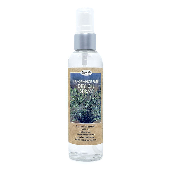 Try Fragrance Free, certified organic jojoba oil, dry oil spray. Leaves your skin feeling silky smooth and protected from the sun with spf 15.