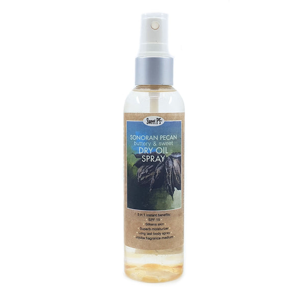 Skin softening dry oil spray is made with certified organic jojoba oil. Sonoran pecan has a rich, almost chocolaty-vanilla scent. No parabens or SLS.