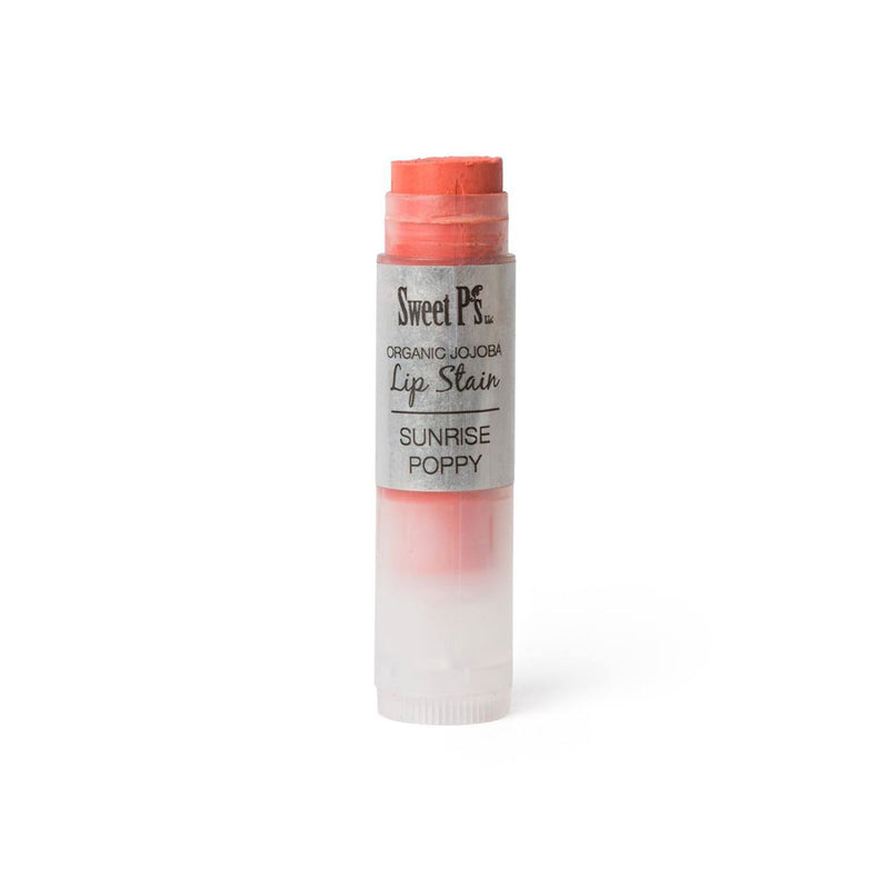 organic lip stain, spf 15 orange poppy color