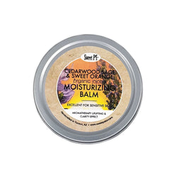 Try cedarwood, sage & sweet orange moisturizing balm. Made with certified organic jojoba oil, this balm is excellent for sensitive skin. It also has an uplifting aromatherapy effect.
