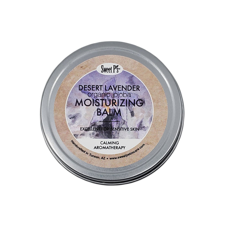 Moisturizing balm made with certified organic jojoba oil and shea butter. Desert lavender scent is calming and relaxing.
