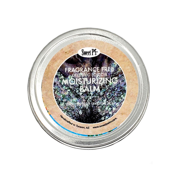 fragrance free, moisturizing balm for dry sensitive skin. made with organic jojoba oil and shea butter.