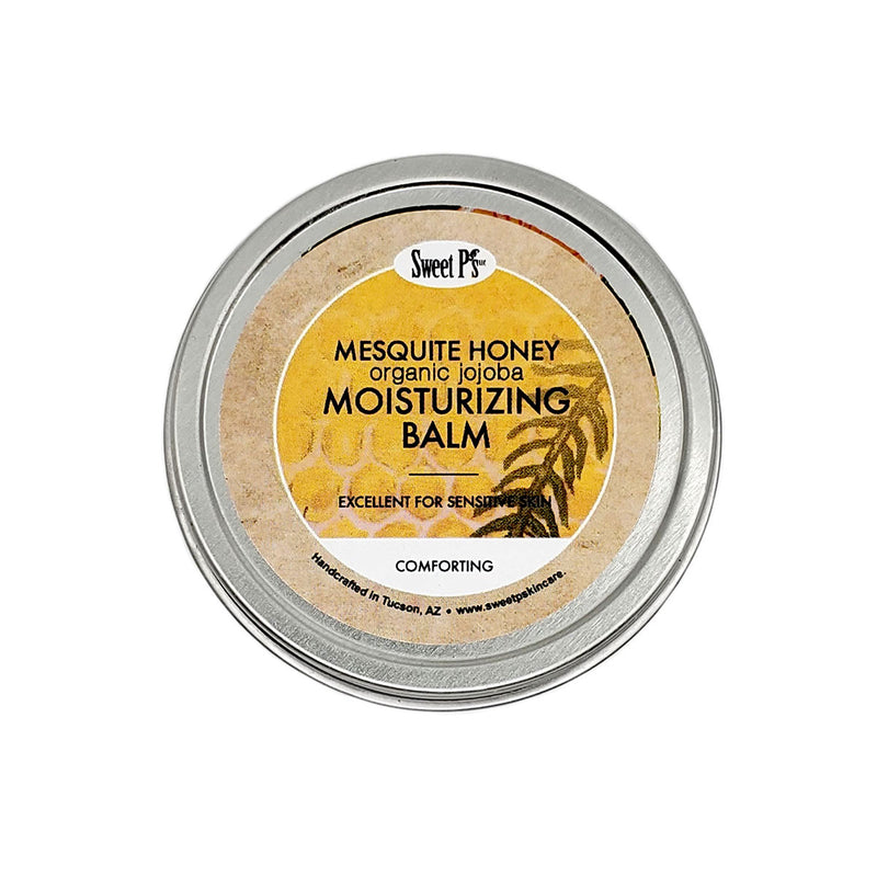Mesquite honey moisturizing balm is excellent for sensitive skin. Made with certified organic jojoba oil and shea butter. Comes in a 2 oz tin.