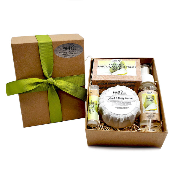 organic skin care gift set with soap, hand cream, lip balm and dry oil spray. pear scented, cruelty free, not tested on animals