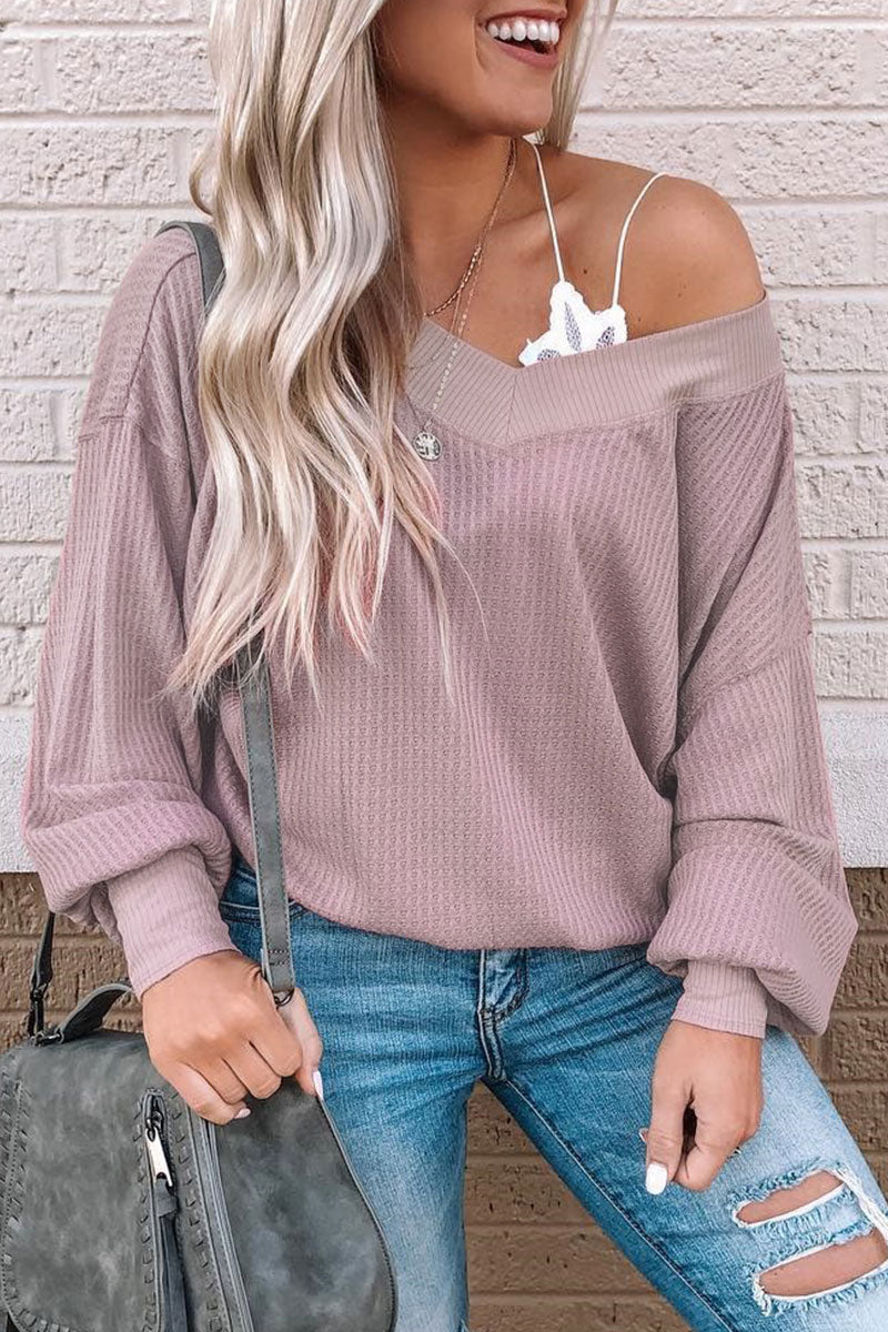 Inscici Casual V Neck Patchwork Long Sleeve Sweater