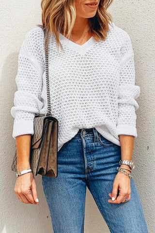Inscici V Neck Hollow-out White Sweater