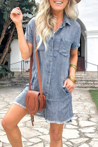 Inscici Turndown Collar Buttons Design Denim Mini Dress