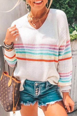 Inscici V Neck Multicolor Striped Sweater