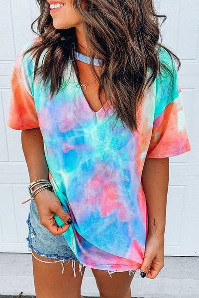 Inscici Casual V Neck Tie-dye Printed Multicolor T-shirt