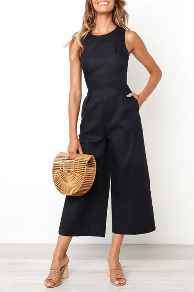 Inscici Pockets Design Black Sleeveless One-piece Jumpsuit