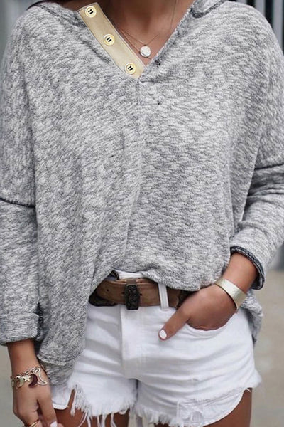 Inscici V Neck Buttons Long Sleeve T-shirt
