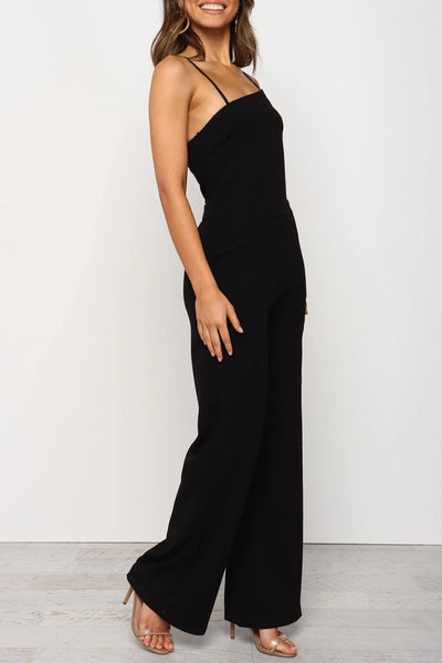 Inscici Spaghetti Straps Black One-piece Jumpsuit
