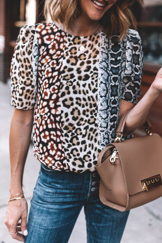 Inscici Leopard Printed Patchwork Short Sleeve Blouse