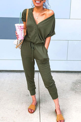 Inscici Casual V Neck Drawstring Design Jumpsuit