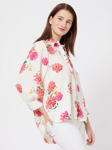 BKind Off-White Satin Floral Printed Shirt Style Top for Women
