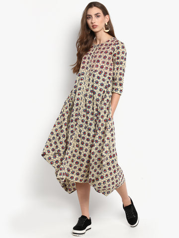 BKind Beige Cambric Printed Round Neck Dress for Women