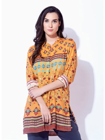 BKind Mustard Cotton Floral Printed 3/4th Sleeved Tunic for Women