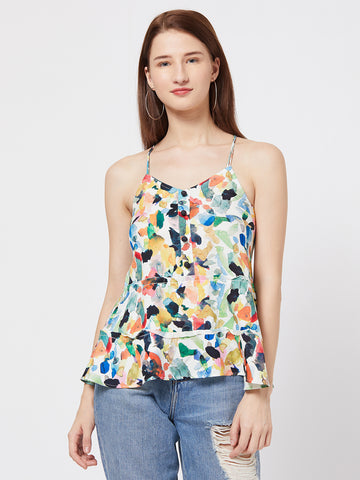 BKind Multicolour Cotton Tie-Dye Printed Strappy Top for Women