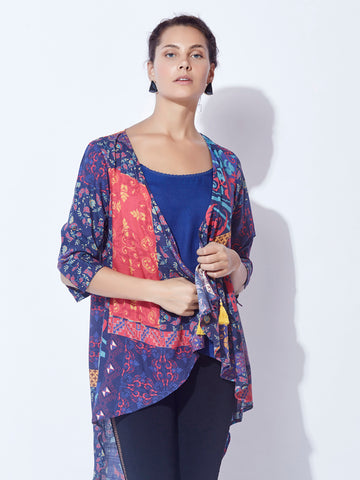BKind Blue Viscose Rayon Printed Shrug for Women