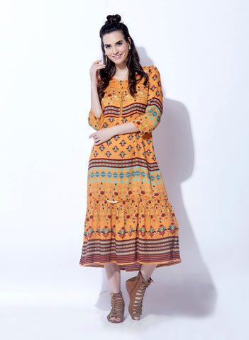 BKind Mustard Viscose Rayon Printed Dress for Women