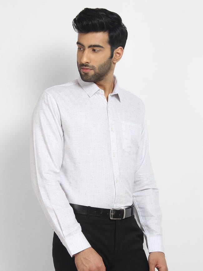 Cape Canary Men's White Cotton Solid Formal Shirt